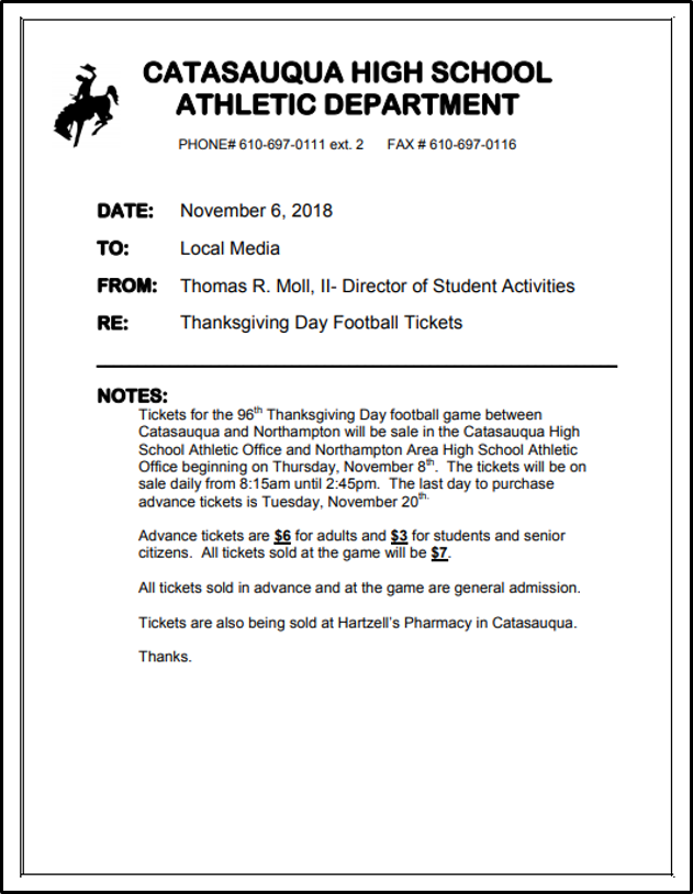 Catasauqua-Northampton Thanksgiving Day Football Ticket Information